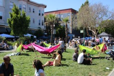 The Urban Air Market was attended by more than 500 shoppers and guests, many of which took turns lounging in the many hammocks pitched in Patricia's Green and on Linden Alley, on May 1, 2016. (BayNewsNow/Kaylee Fagan)